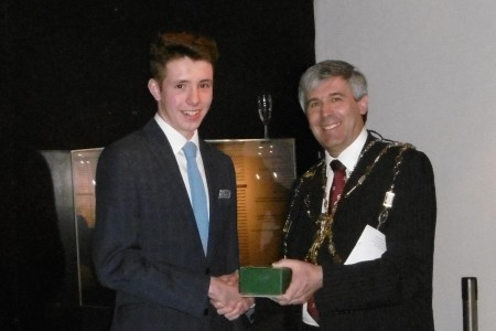 University of Sheffield MEng candidate Tim Butterfield receives first prize in EPC 2015 student awards from Incorporation of Hammermen Deacon Professor David Harrison